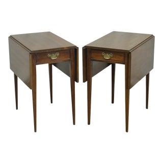 Henkel Harris Vintage Solid Mahogany Drop Leaf Pembroke Side Tables - a Pair