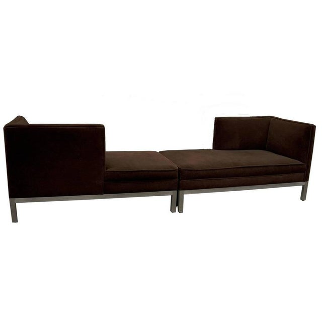 Pair of identical Charter/ Brown Jordan chaise lounges in a deep brown velour/ mohair upholstery. The base/ legs are a...
