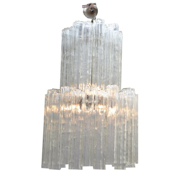 Transparent Italian Mid-Century Modern Two Tier Long Crystal Tronchi Shades Chandelier For Sale - Image 8 of 9