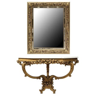 French Louis XV Style Ornate Console and Mirror - a Pair For Sale
