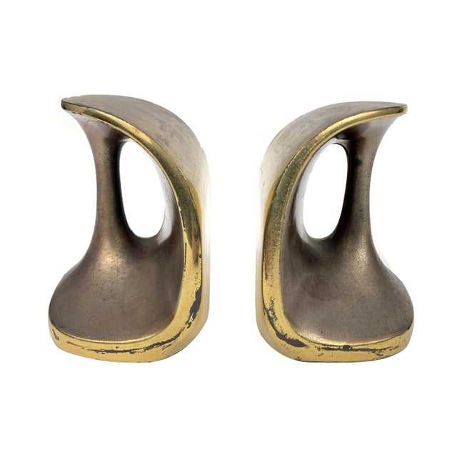 Mid-Century Modern Vintage Maison Gourmet Jenfredware by Ben Seibel Modernist Mid-Century Copper / Brass Patina Bookends - a Pair For Sale - Image 3 of 7
