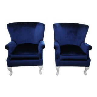 Queen Ann Wing Back Chairs- A Pair For Sale