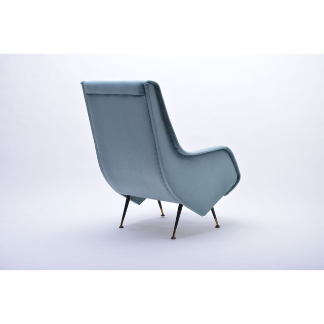 Italian Italian Blue Armchair from ISA Bergamo, 1950s For Sale - Image 3 of 10