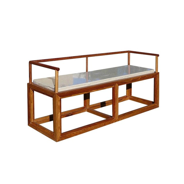 Asian Rosewood Chinese Simple Zen Design Daybed Bench Chair For Sale - Image 3 of 5