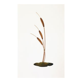 Mid Century Cattail Wall Hanging For Sale