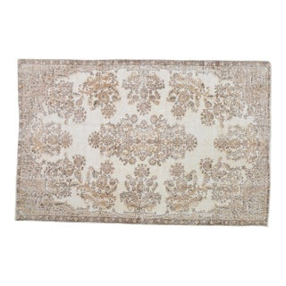 """Vintage Turkish Hand Knotted Whitewash Organic Wool Fine Weave Rug,5'6""""x8'7"""" For Sale"""