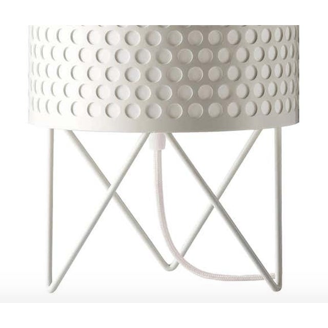 Joaquim Ruiz Millet 'ABC' table lamp in white. Executed in a white painted perforated metal shade with white interior...