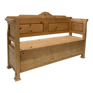 English Pine Entry Bench With Storage For Sale