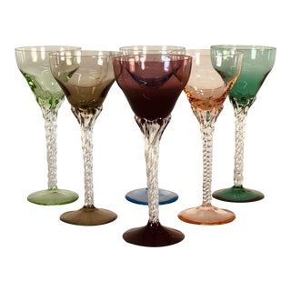 Multi-Colored Twisted Stem Glass Coupes, Set of 6 For Sale