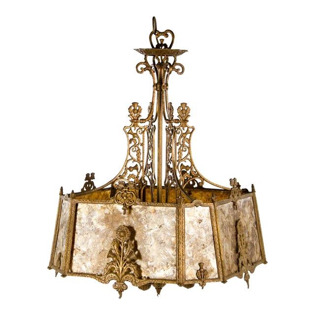 Victorian Style Mica 4 Light Chandelier For Sale