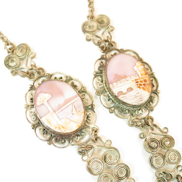 Victorian-Style Landscape Shell Cameo Filigree Necklace Italy 1950s For Sale - Image 9 of 12