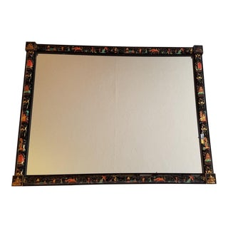 Large Chinoiserie Glass Tile Mirror For Sale