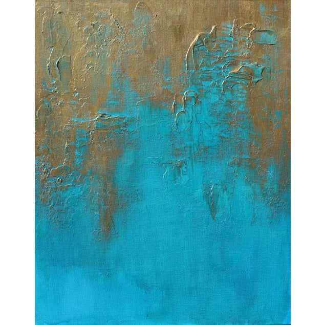 """Original """"Bronzed Earth II"""" Abstract Modern Turquoise Blue Bronze Metallic Textured Painting on Canvas For Sale - Image 4 of 4"""
