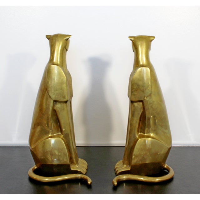 Brass Mid Century Modern Pair of Bronze Brass Cheetah Cat Table Sculptures For Sale - Image 7 of 12