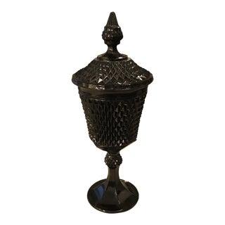 Vintage Modern Jet Black Studded Glass Lidded Pedestal Dish Compote For Sale