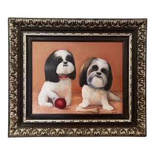 1980s K. Tsa Original Shih Tzu Dogs Oil on Canvas Signed Painting For Sale
