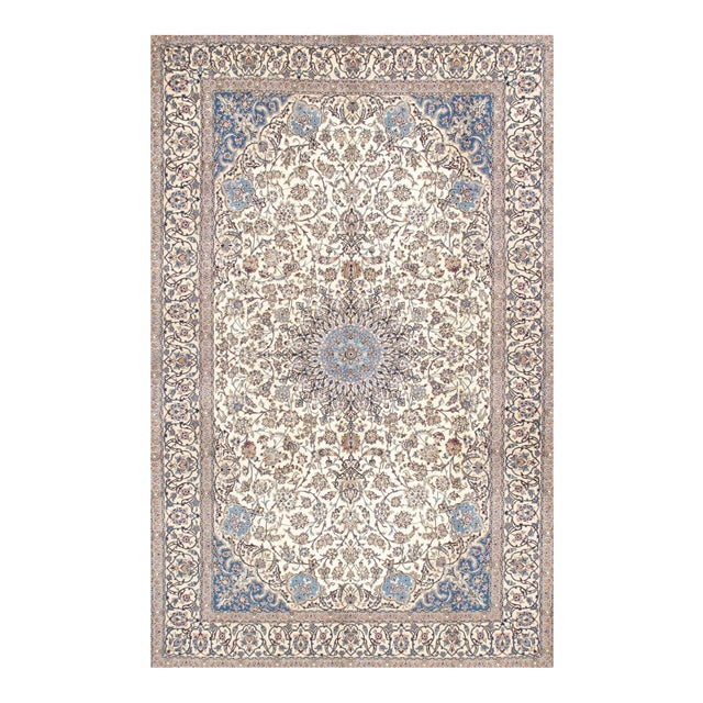 "Pasargad Nain Silk & Wool Area Rug - 7' 3"" X 11'11"" For Sale"