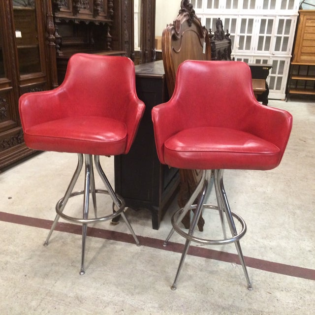 Vintage 1970s Red Bar Stools - Pair - Image 2 of 6