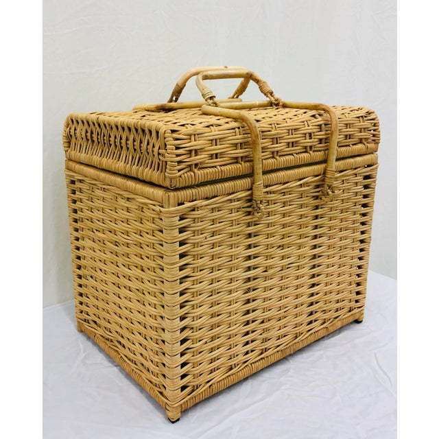Boho Chic Woven Wicker Filing Box For Sale - Image 3 of 12