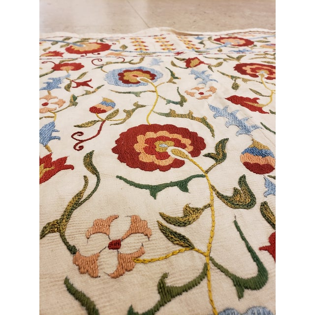 20th Century Asian Suzani Textile Rug - 3'5x3'7 For Sale - Image 9 of 10