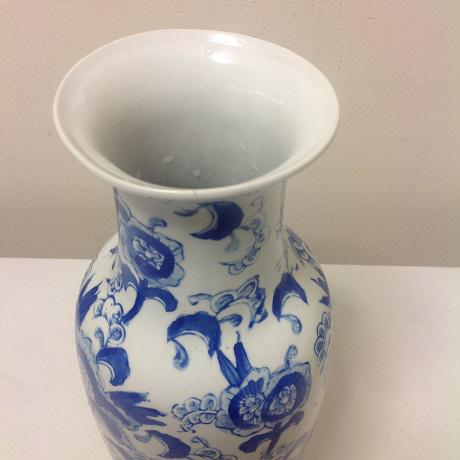 Ceramic Chinoiserie Blue & White Vase Collection - 4 Pc. For Sale - Image 7 of 8