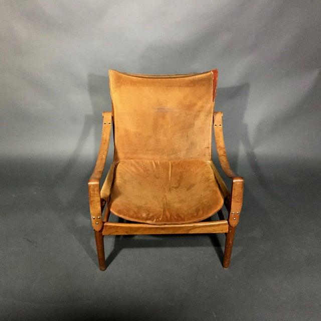 "1960s Scandinavian Modern Hans Olsen ""Antilop"" Suede and Oak Safari Chair For Sale In New York - Image 6 of 12"