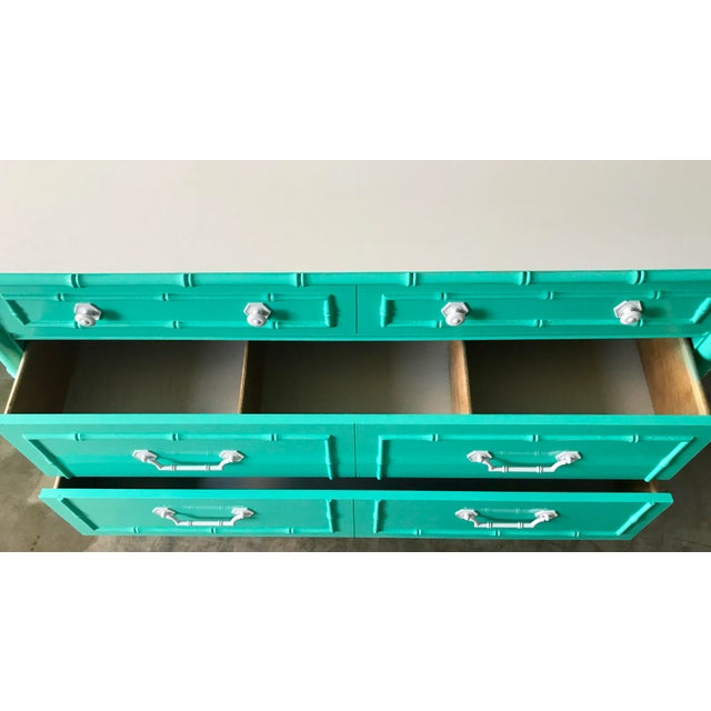 Hollywood Regency Vintage Custom Colored Turquoise Bamboo Dressers - a Pair For Sale - Image 3 of 6