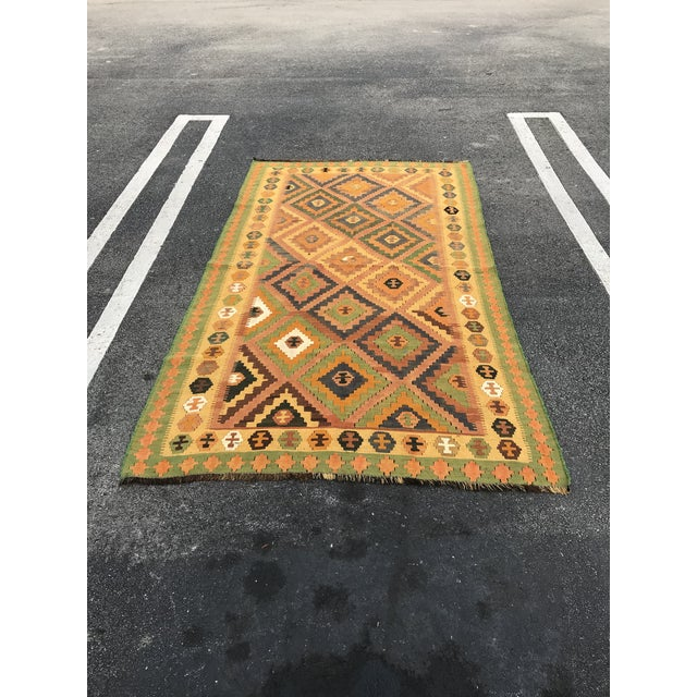 Textile Qashqai Hand-Woven Kilim Rug, From Iran For Sale - Image 7 of 7