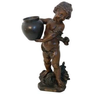 """Bronzed Spelter Putto Jardinière/ Sculpture, """"Bonne Fête"""" by a.j. Scotte For Sale"""