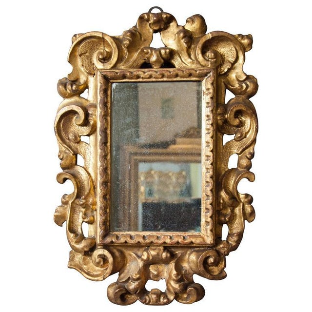 Gold Italian Baroque Giltwood Mirror For Sale - Image 8 of 8