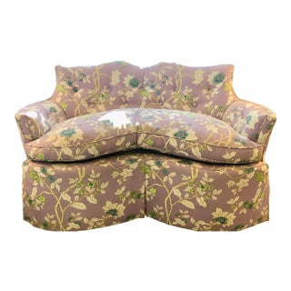 Upholstered in Quadrille Happy Gardens Linen Loveseat For Sale
