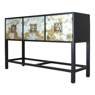 Black Lacquer Painted Decorated Three Doors Small Credenza Brass Pulls For Sale
