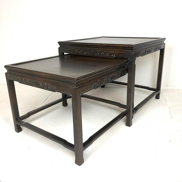 Black Pair of Mario Buatta for Widdicomb Asian Chinoiserie Ebonized Nesting Tables For Sale - Image 8 of 13