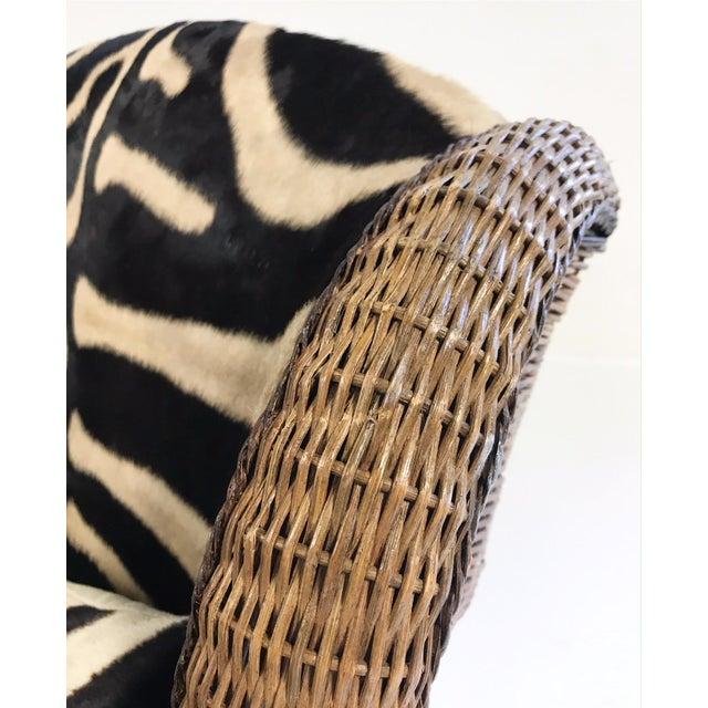 Vintage Ralph Lauren Wicker Wingback Chairs Restored in Zebra Hide - Pair For Sale - Image 11 of 12
