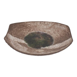 Ceramic Platter With Glass Center For Sale