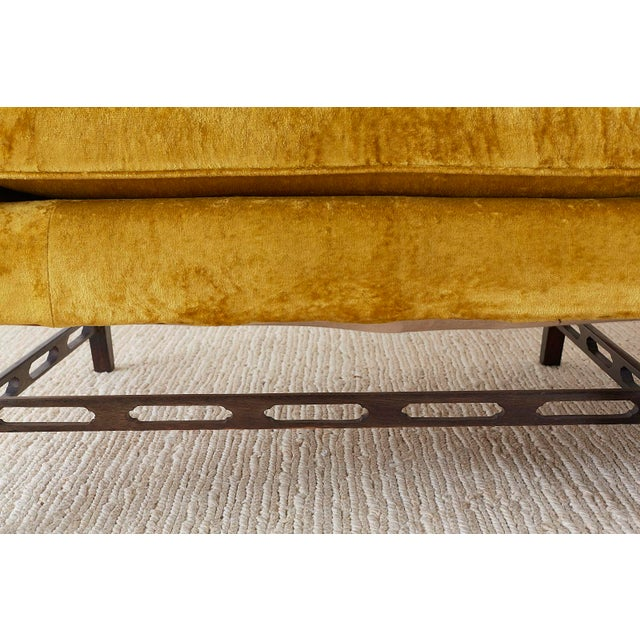 Brown Chinese Chippendale Style Citron Velvet Camel Back Sofa For Sale - Image 8 of 13