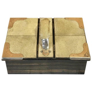 Important Large English Shagreen and Sterling Handled Table Box, London, 1901