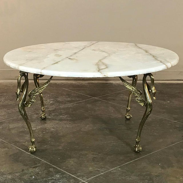 Mid-Century French Brass & Onyx Round Coffee Table For Sale - Image 11 of 11