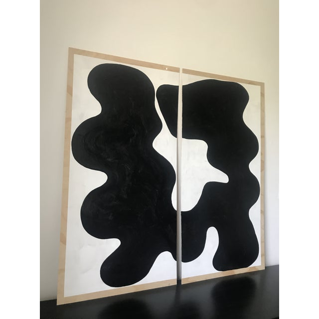 Hannah Polskin original 2018 black and white abstract acrylic painting on plywood. Gestural motif with monochrome color...