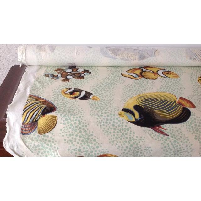 "1990s Grey Watkins ""Barbuda"" Fish Linen Textile - 4 1/3 Yds. For Sale - Image 5 of 12"