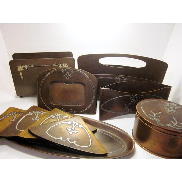 Art Nouveau 1910s Antique Arts and Crafts Era Heintz Art Metal Sterling Decorated Bronze Art Nouveau Floral Motif Desk Set - Set of 7 For Sale - Image 3 of 11