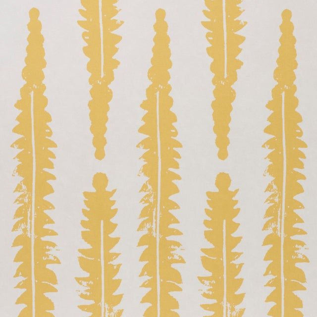 Contemporary Sample - Schumacher x Molly Mahon Fern Wallpaper in Mustard For Sale - Image 3 of 5