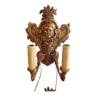 Pair of Italian Gilt Wood Sconces, 19th Century For Sale