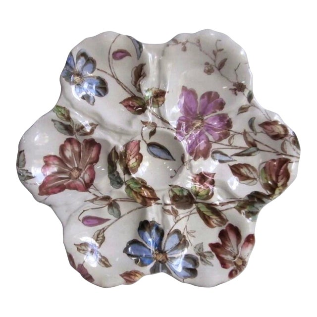 19th Century English Oyster Plate With Flowers Adderley For Sale