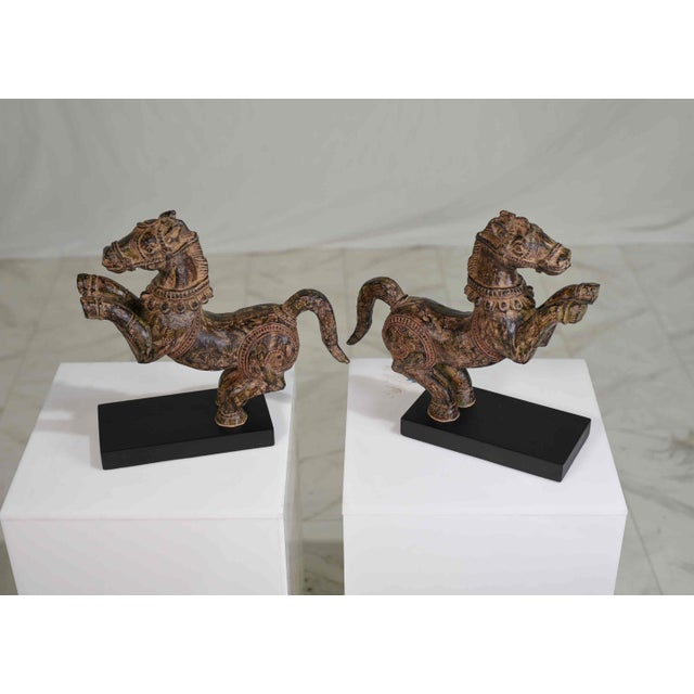 1990s Vintage Decorative Samurai Horse Figures on Lacquered Bases - a Pair For Sale - Image 5 of 13