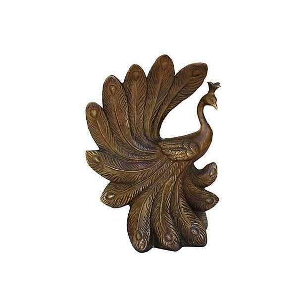 Mid-Century Brass Peacock Statue - Image 1 of 7