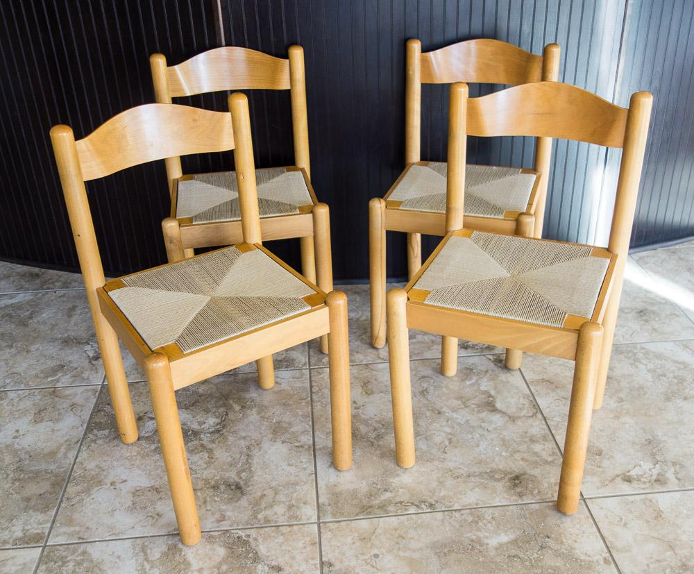 Charmant Mid Century Style Italian Rush Seat Dining Chairs   Set Of 4   Image 2