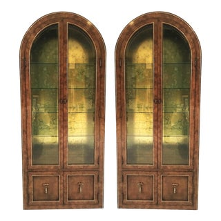 Mastercraft Burled Wood and Brass Vitrine Cabinets by William Doezema - A Pair For Sale