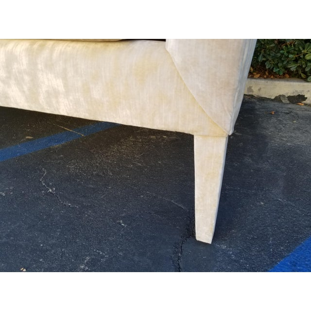 White Custom Cream Textured Velvet Chaise With Fabric Covered Legs For Sale - Image 8 of 10