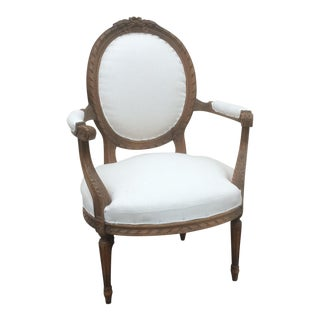 French Arm Chair With Rounded Back For Sale